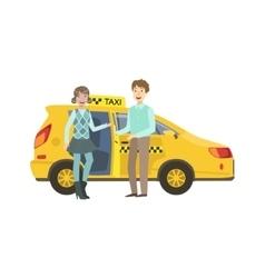 Young Couple Entering Yellow Taxi Car vector
