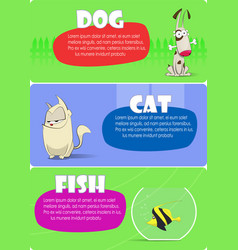 dog cat and fish together vector image vector image