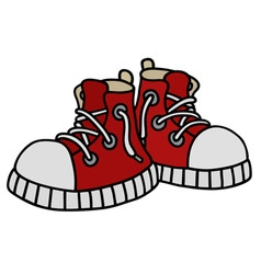 Funny red sneakers vector image