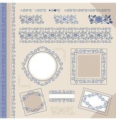 set floral ornaments vector image