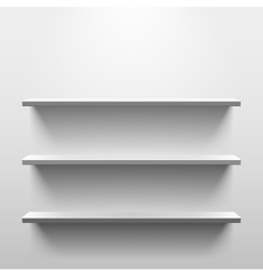 Shelves with shadow in empty white room vector image