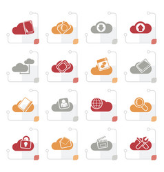 stylized cloud services and objects icons vector image vector image