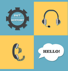 support call center set vector image