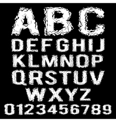 White polygonal broken alphabet on a black vector image vector image
