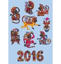 set of different colors decorative monkey - vector image