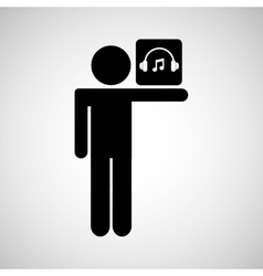 silhouette man icon music social network vector image vector image