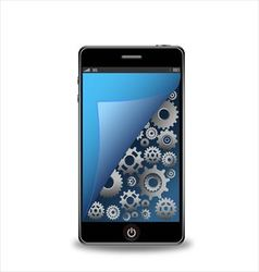 Smartphone with gears vector image vector image