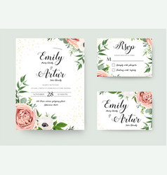 Wedding floral invite invitation thank you rsvp vector