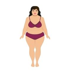 beautiful cartoon fat woman vector image