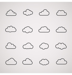 cloud icons shapes set for computing web and app vector image vector image