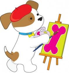 cute puppy artist vector image