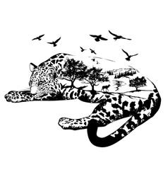 Double exposure hand drawn jaguar vector