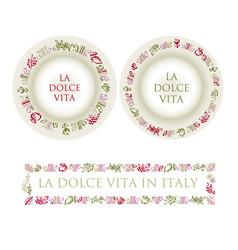 hand drawn italian food elements vector image