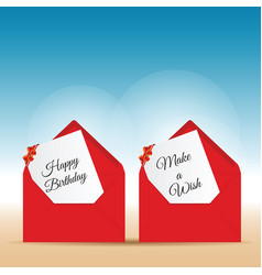 happy birthday with wishes in red letter envelope vector image