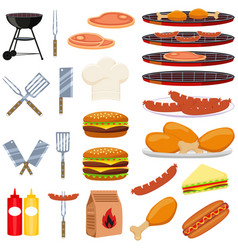 colorful cartoon bbq outdoors 23 element set vector image vector image