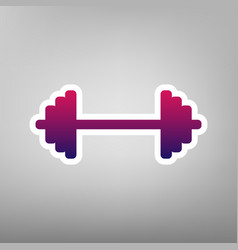 dumbbell weights sign purple gradient vector image vector image