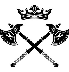 fantasy axes and crown vector image vector image