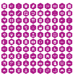 100 activity icons hexagon violet vector