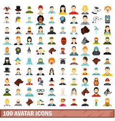 100 avatar icons set flat style vector