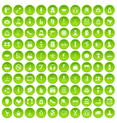 100 beauty and makeup icons set green circle vector