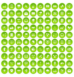 100 communication icons set green vector