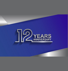 12 years anniversary silver color line style vector