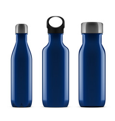 3d blue glossy metal reusable water bottle set vector