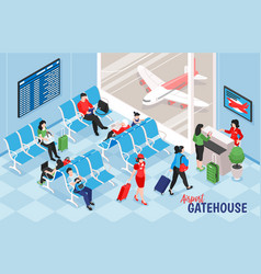 Airport gatehouse indoor composition vector
