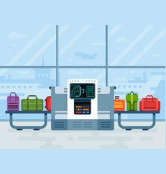 airport luggage scanner police secure belt vector image