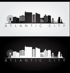 Atlantic city usa skyline and landmarks vector