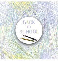Back to school background supplies frame chaotic vector