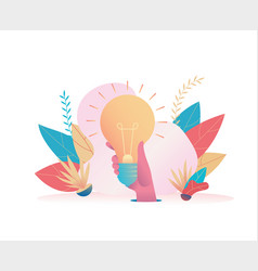big hand holds a huge holy light bulb vector image