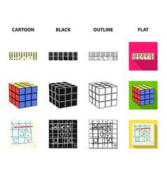 board game cartoonblackoutlineflat icons in set vector image
