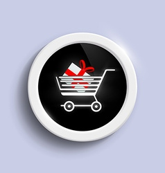 Button with a shopping cart vector image