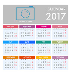 Calendar for 2017 on white background week starts vector