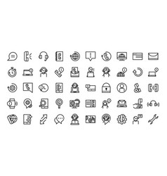 Call center service business icons collection line vector