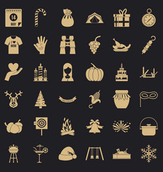 Candle icons set simple style vector