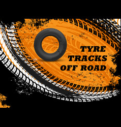 car off road tyres tracks grungy background vector image