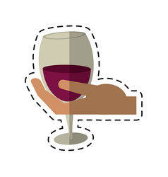 cartoon hand holding glass cup wine vector image