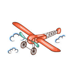 cartoon retro airplane in sky vector image