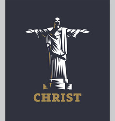 Christ redeemer statue vector
