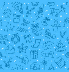 christmas doodling seamless background vector image
