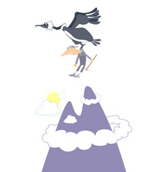 Climber and bird of prey in the mountain vector