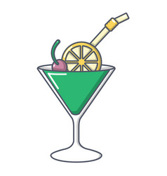 cocktail icon cartoon style vector image