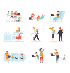 Collection of parents working with their children vector