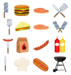 colorful cartoon bbq outdoors 16 element set vector image
