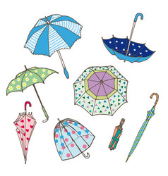 Colorful umbrellas collection vector