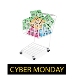 Computer Motherboard in Cyber Monday Shopping Cart vector image