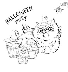 Cute black kitten and dog wearing funny and fancy vector