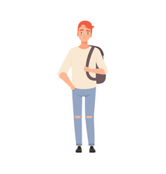 Cute teenager man with ginger hair and backpack on vector